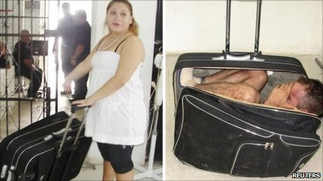 Maria del Mar Arjona Rivero holds the suitcase, in which her husband was found (right)