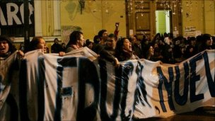 Students protest outside Universidad de Chile in Santiago on 5 July 5, 2011.