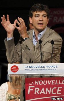 Arnaud Montebourg addresses a rally in Paris, 27 June 2011