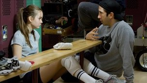 Liana Liberato on the set of Trust with David Schwimmer