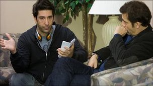 David Schwimmer on the set of Trust with Clive Owen