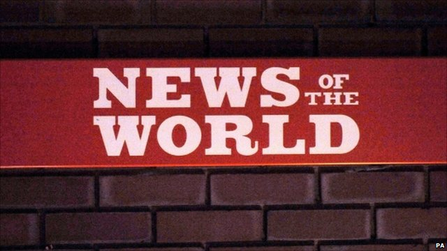Sign for the News of the World at News International in Wapping