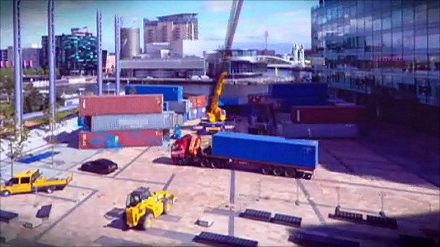 Music Boxes taking shape on the plaza of MediaCityUK
