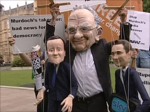 Anti-Murdoch protesters outside Parliament