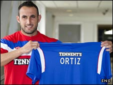 Juan Manuel Ortiz with his Rangers shirt
