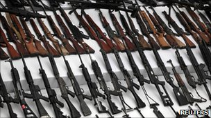 Seized weapons are displayed to the media by the Mexican Navy in Mexico City. File photo