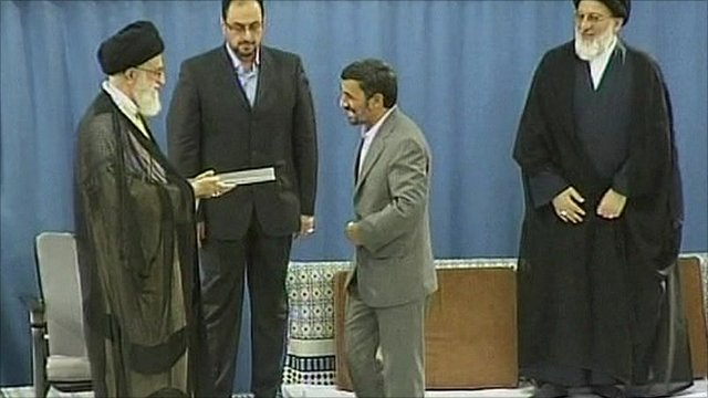 Iran's President Mahmoud Ahmadinejad and Supreme Leader Ayatollah Ali Khamenei.