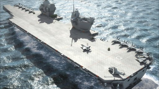 Computer generated image issued by the MoD of an aircraft carrier that is due to be built in Britain