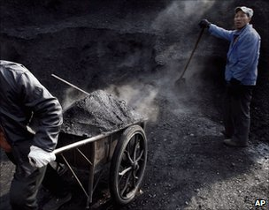 Traditional coal mining in China