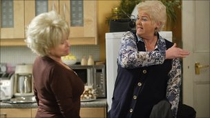 Barbara Windsor as Peggy (left) and Pam St Clement as Pat