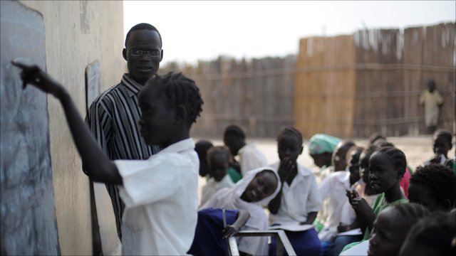 Students take part in an English class at a government school in Bentiu, South Sudan.