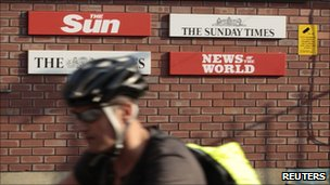 Signs for the Sun, the Times, Sunday Times and News of the World