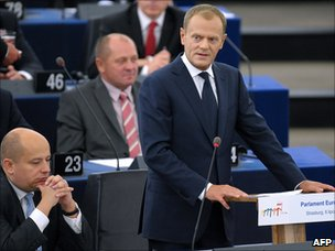 Polish PM Donald Tusk addressing European Parliament, 6 Jul 11