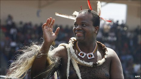 King Mswati III waves at his subjects (September 2008)