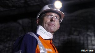 Tony Abbot in a coal mine. Photo: June 2011
