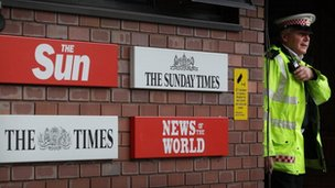 Signs outside News International