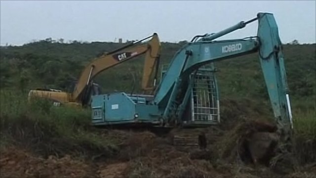 Land being dug up for industrial development in Malaysia