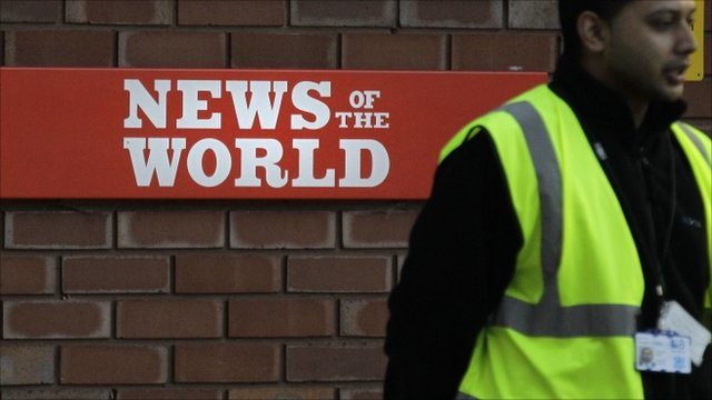 Security officer outside News of the World premises