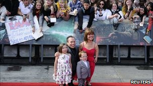 Actor Warwick Davis and family at Harry Potter and the Deathly Hallows: Part II premiere