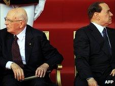 Giorgio Napolitano and Silvio Berlusconi
