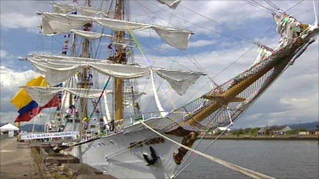 Tall ship berthed in Greenock