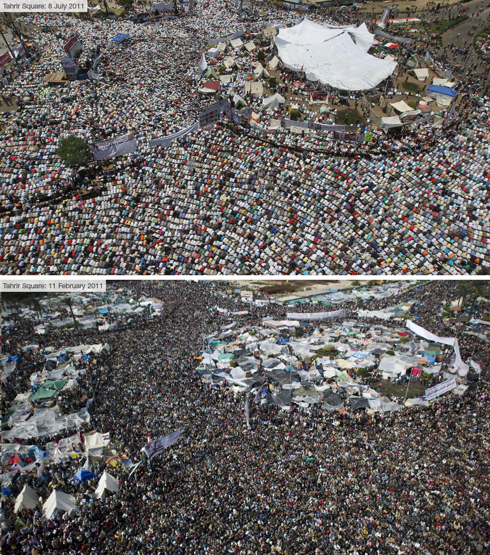 Protesters in Tahrir Square on 8 July (top) and 11 February (below)
