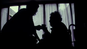 Care of the elderly home help nurse silhouette