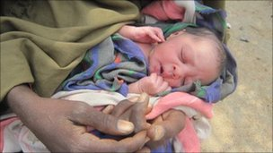 One-day-old Iisha, born under an acacia tree near Liboi