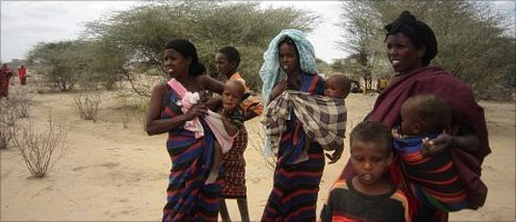 Somali refugees in the bush in Kenya
