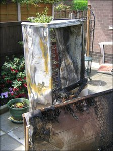 Michelle Woolwich's burnt out fridge- freezer