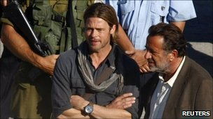 Brad Pitt on the set of World War Z in Valleta in Malta