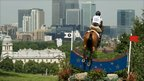 View from the Cross Country course towards London's Canary Wharf during the Greenwich Park Eventing Invitational