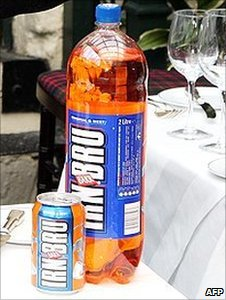 Bottle and can of Irn-Bru