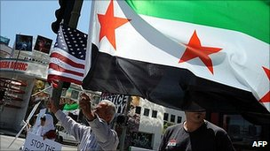 Syrians supporting regime change protest in California. 4 June 2011