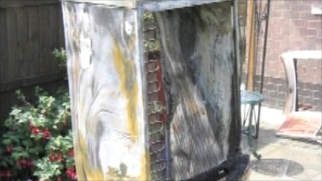 Fire damaged fridge