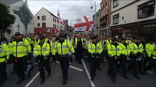 English Defence League march in Plymouth