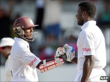 Shivnarine Chanderpaul (left) and Kirk Edwards