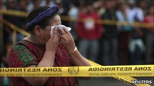 Nobel Peace Prize winner, Rigoberta Menchu, at the crime scene, 9 July