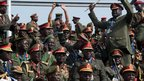 South Sudanese military officers at the independence ceremony in Juba, 9 July