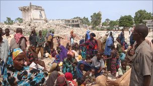Somali drought refugees camp among the ruins of Somalia's capital, Mogadishu