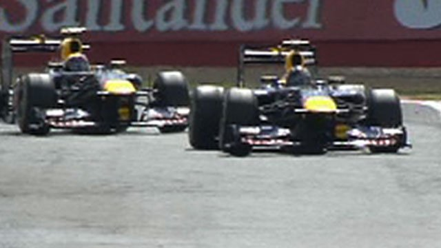 Red Bull's Mark Webber and Sebastian Vettel