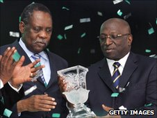 Caf president Issa Hayatou (left) and Jacques Anouma
