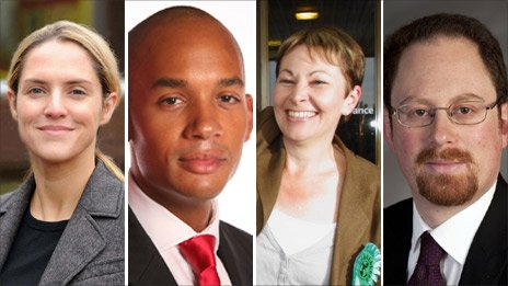 Louise Mensch, Chuka Umunna, Caroline Lucas and Julian Huppert