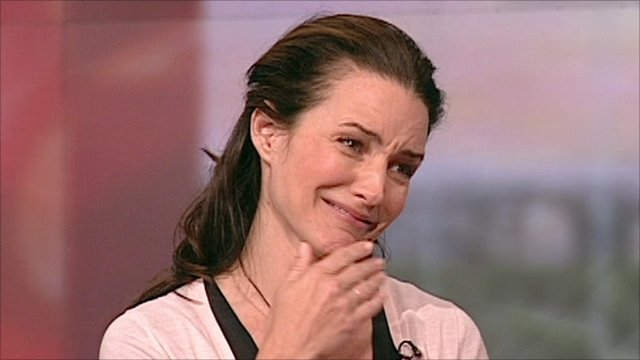 Kristin Davis on BBC Breakfast sofa