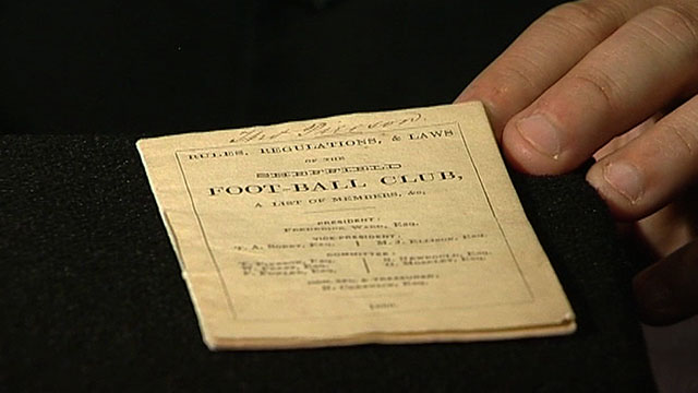The first printed football rulebook from 1859