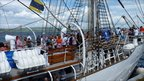 People enjoying a BBQ on board one of the Tall Ships in Greenock