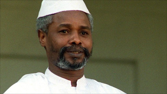 A file photo taken on 21 October 1989 shows then-Chadian President Hissene Habre on an official visit in Paris.