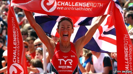 Chrissie Wellington celebrates a third Challenge Roth victory
