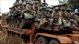 Ugandan soldiers patrolling northern Uganda in February following an LRA attack