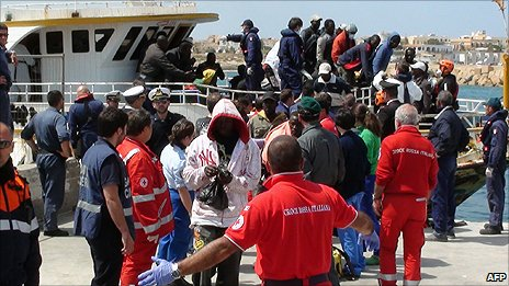 African migrants arriving in Lampedusa - file pic